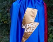 Men's Adult Super Hero Custom Superhero Super Dad Cape Reversible in Washable Satin Initial or Name Personalized