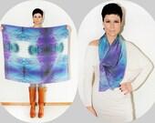 "Handmade Large Silk Scarf ''Back Cove""  - Frame it or Wear it - Eco Friendly - Art print by Heidi - 50"" x 39"""