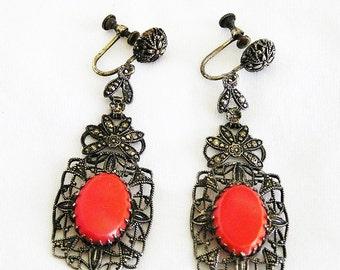 Art Deco c.1930's Coral Glass Marcasites Filigree Earrings