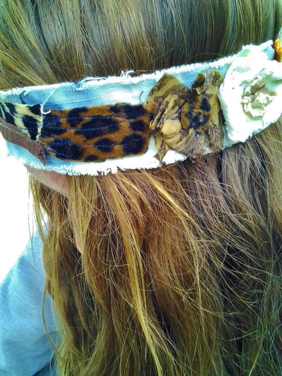 Upcycled Hippie Flower Headband/Hippie Headband/Upcycled Headband/Hair Accessory/Music Festival Headband