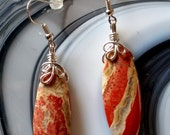 Red River Jasper Gemstone Wire Wrapped Silver Pierced Earrings