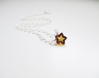 Be A Star Gemstone  Necklace - Sterling Silver and Beer Quartz