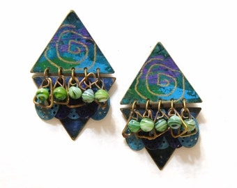 Earrings Vintage Earrings 1980s Vintage Metal Earrings Geometric Shapes Brass Post Earrings Funky Triangles Colorful Vintage Jewelry
