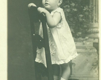 RPPC Toddler Girl White Dress Standing on Chair Louise Shelton Real Photo Postcard Antique Vintage Black White Photo Photograph