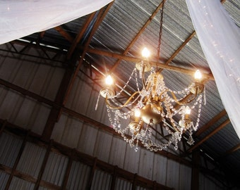 Vintage Wedding Barn Glam Antiqued Gold Chandelier MADE TO ORDER