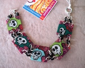 Shrink Plastic Day of the Dead Skull Bracelet