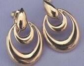 Vintage NAPIER Gold Earrings / Napier Door Knocker Earrings / Gold Napier Earrings / Double Loop Earrings / Gold Door Knocker Earrings