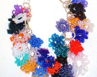 Charm Bracelet Cuff Bangle Bead Flowers Daisy Multi Colors Chunky Orange Turquoise Garden Wedding Bride Statement