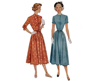 1940s Dress Pattern Tie Collar Front Button Day Dress Short or Long Sleeves Petite McCall 7402 Junior Bust 28 Vintage Sewing Pattern