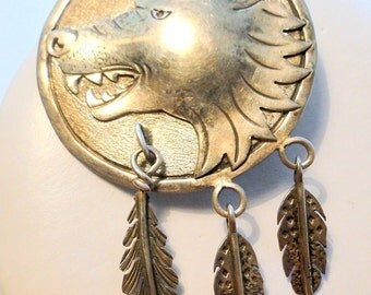 Native American Rare GKE Brooch Repousse Wolf Wild Boar Open Mouth Teeth Ferocious Pin Navajo Artist