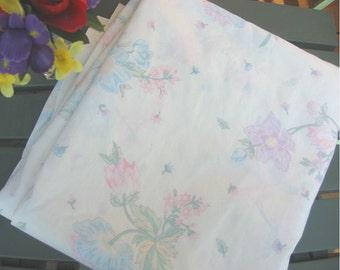 Pastel Wild Roses, FLAT sheet, gentle blue pink purple DOUBLE Wamsutta