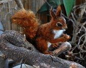 Needle Felted  Wool Animal. Red squirrel.  Made to custom orders