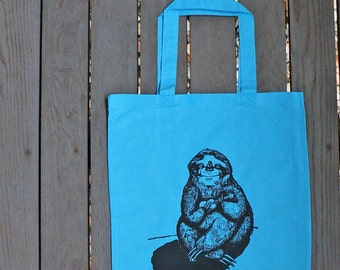 Sloth Playing the Ukulele Hand Drawn Design on Teal Tote Bag