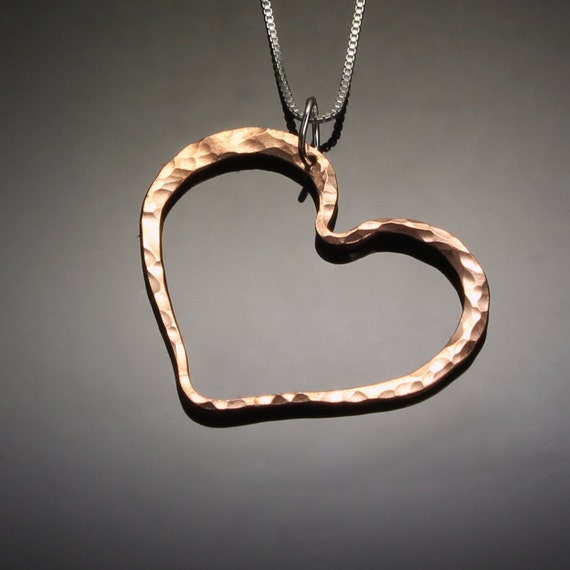 Hammered Copper Heart Pendant Necklace // Romantic Valentine's Day Gift