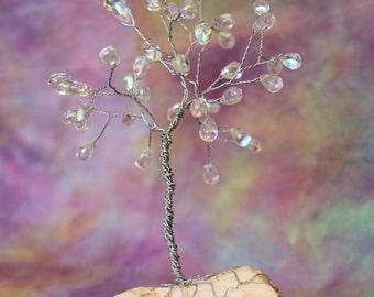 Glass Drops Wire Tree Sculpture in Steel