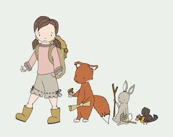 Woodland Art -- We're Off On An Adventure -- Girl Animal March, Girl and Animals, Girls Nursery Room Decor, Children Art, Kids Wall Art