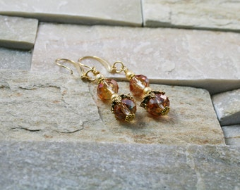 Topaz crystal earrings, orange jewelry, gold earrings, large crystals