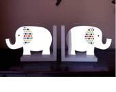 Elephant bookends elephant decor elephant nursery children's bookends white and gray polka dot elephant bookends for kids wooden elephant