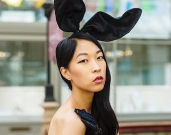 Bunny ears headband -  Black bunny ears - Tall bunny ears headband .