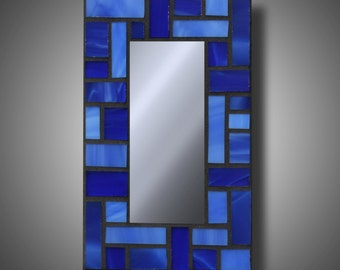 "Blue Stained Glass Mosaic Mirror - Accent Mirror with Spectrum Glass -  4"" x 6.5"" Small Mirrors - Handmade Affordable Gifts"