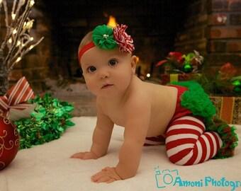 Baby Girl Christmas Set, 3 piece set, Baby Bloomer, Baby Leg warmers and Baby Headband. Ruffle Bum Bloomer. Ruffle Diaper cover