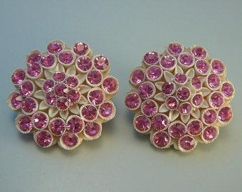 Pink Rhinestone Featherweights Type Earrings Big Flowers