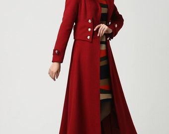 Womens Coat, Long Red coat, hooded coat, Wool Coat, Military coat, long coat, dress coat, winter coat, Available in Black and Blue (1107)