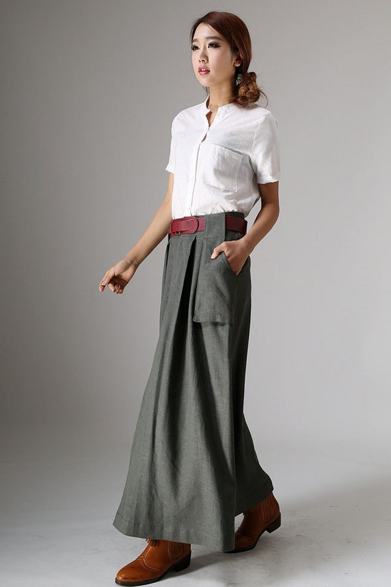 full length skirt, A line skirt, boho skirt, high waisted skirt, pocket skirts, fall skirt, linen skirt, designer clothing, gift  (987)