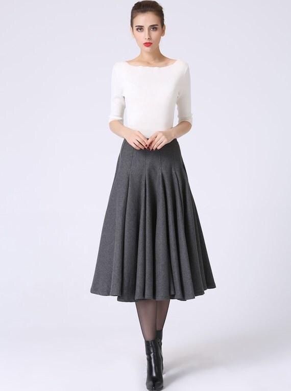 dark grey skirt pleated skirt wool skirt tea length skirt