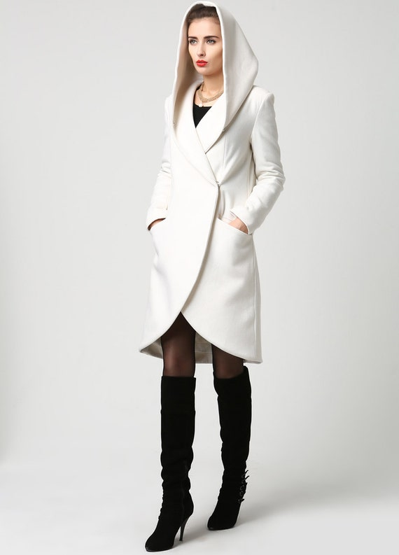White coat wrap coat hooded coat winter coat wool coat