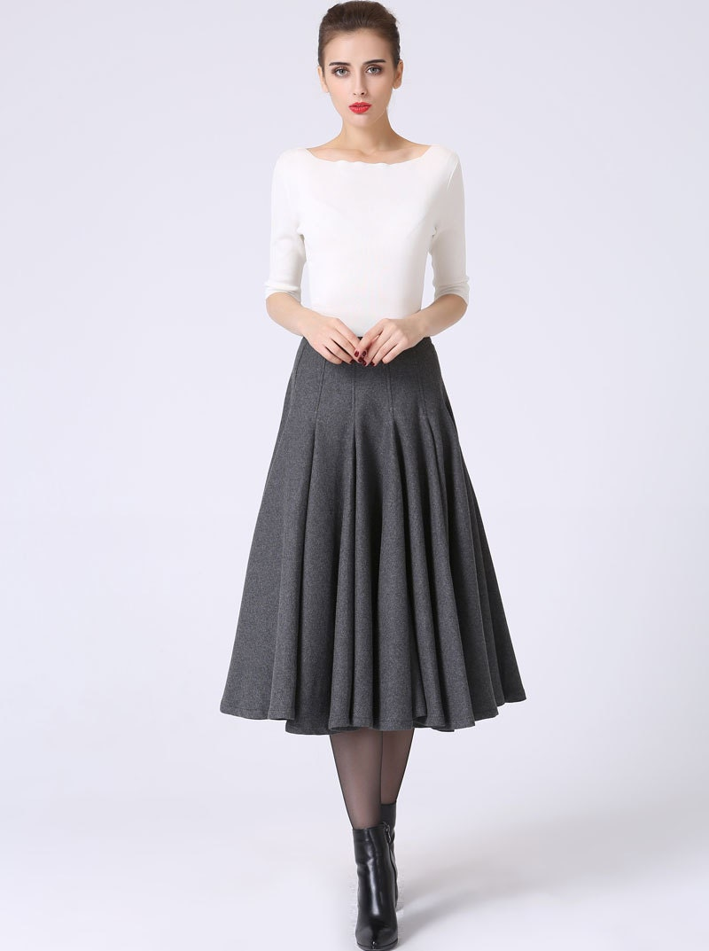 wool pleated winter skirt womens gray grey by
