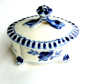 Vintage Gzhel, Russian Blue and White Porcelain Trinket Box,1950s,Marked,Folk Art, Floral, Crown Lid,Vanity,Collectible, RECENTLY REDUCED!