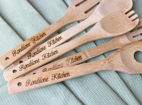 Engraved Wedding Party Gifts: Wood Spoons 5 Personalized Bridal Shower Gift Bridal Party