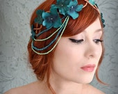 Teal flower crown, flapper headdress, floral head piece, whimsical hair accessory