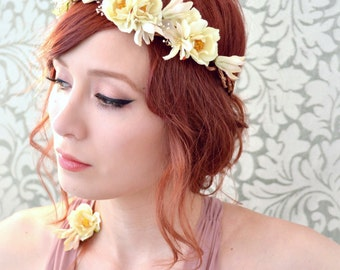Bridal headband, ivory rose crown, flower headpiece, wedding hair accessories
