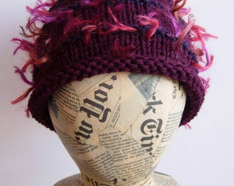 SALE. Hand knit beanie, unisex, wool, novelty, maroon