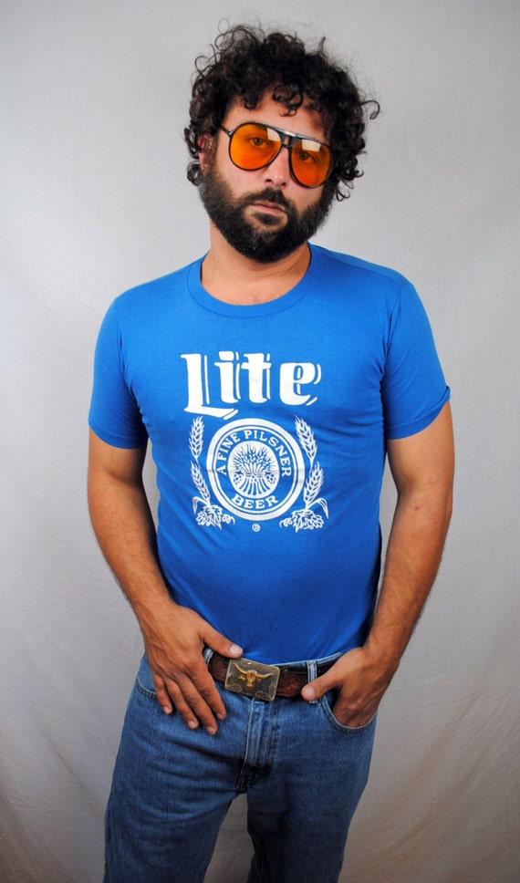Vintage 1980s Miller Lite Beer Blue Tee Shirt By Rogueretro