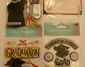 GRADUATION CAPS and Diploma Jolee's Boutique 3d Scrapbooking Stickers- High school, College, Diploma, Congrats