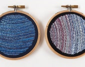 CLEARANCE Tiny Planets - Neptune & Uranus - Framed Embroidered Illustration - Pair of Small 3 inch Wooden Hoops