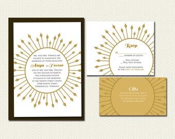 DIY- Sun Burst, Printable Wedding Invitation Suite