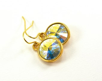 Sparkly Gold Drop Earrings Clear Crystal Dangle Earrings Swarovski Crystal Gold Jewelry