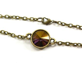 Golden Purple Bracelet Shimmery Purple Crystal Bracelet Antiqued Brass Modern Multi Color Crystal Gold Sheen