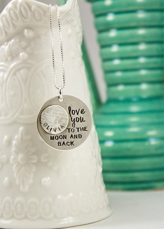 Love you to the moon and back necklace - sterling silver necklace - mommy necklace - name necklace - moon and back jewelry - custom
