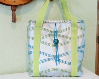 EVERYTHING ON SALE clearance priced - Handmade - Silver, Teal and Green Tote Bag