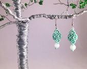 Green Quartz Soft Mint Green Macramé Earrings