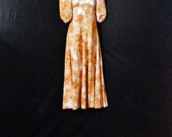 Vintage Mod 1960s Maxi Dress Floral Bohemian Hippie Long Dress Metal Zipper S