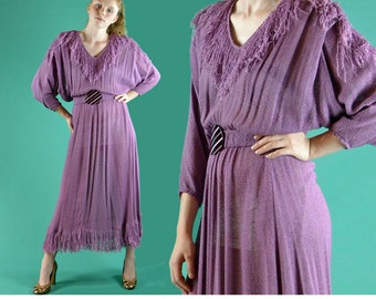 Vintage 70s Dress / Fringed Bohemian Maxi Dress / 1970s Dress Sheer Open Weave Hippie Festival Dress / Batwing Sleeve Boho Midi Dress S / M
