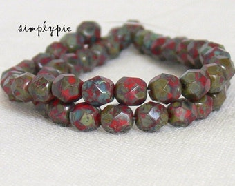 Opaque Red Picasso, Czech Beads Fire Polished 6mm 25 Faceted Round GLass