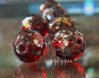 Garnet Picasso, Czech Fire Polished Beads 12mm 6 Faceted Round Glass
