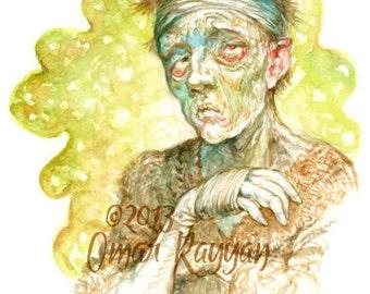 Diseased - original watercolor painting, game art